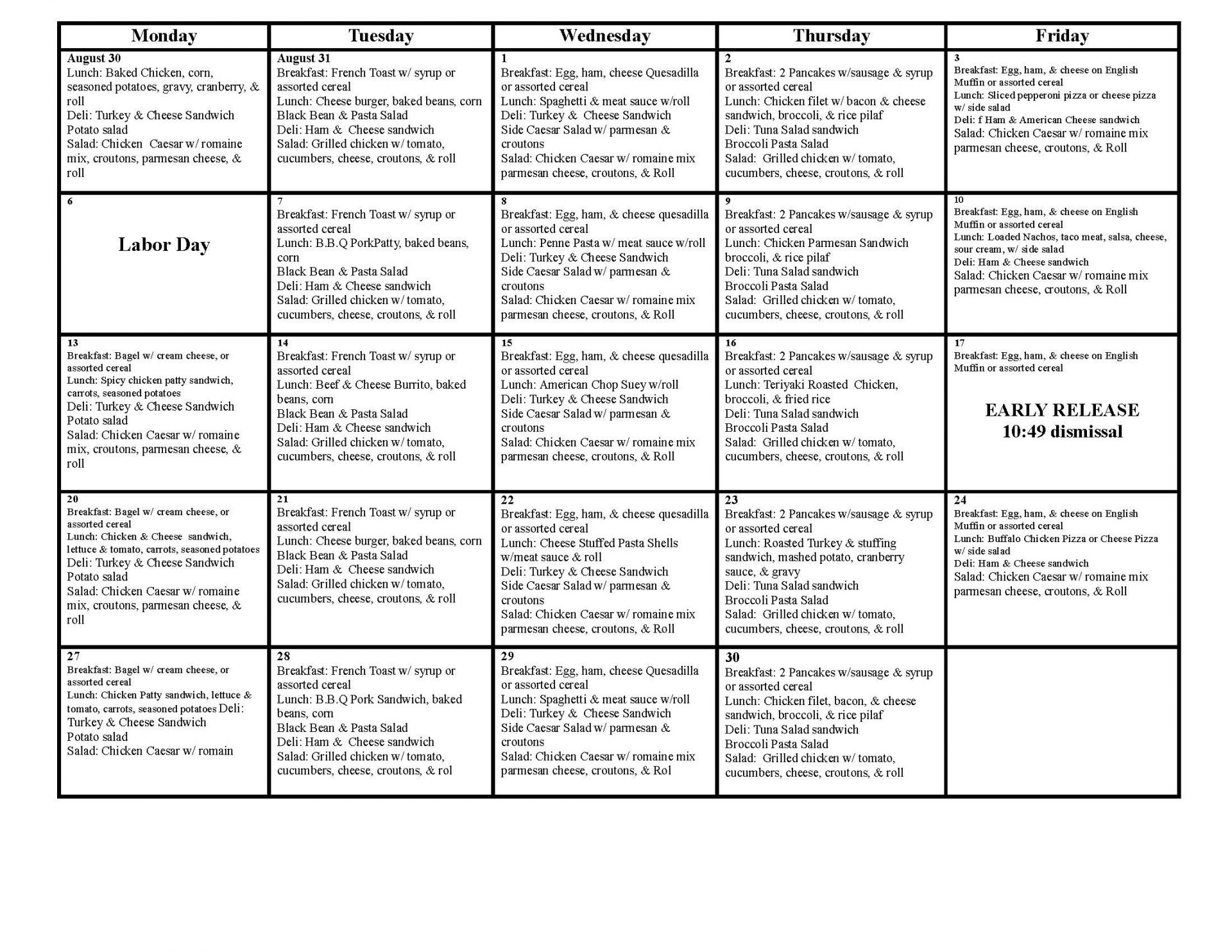 Image of the Student Lunch Menu for Aug Sept 2021, download for a readable pdf
