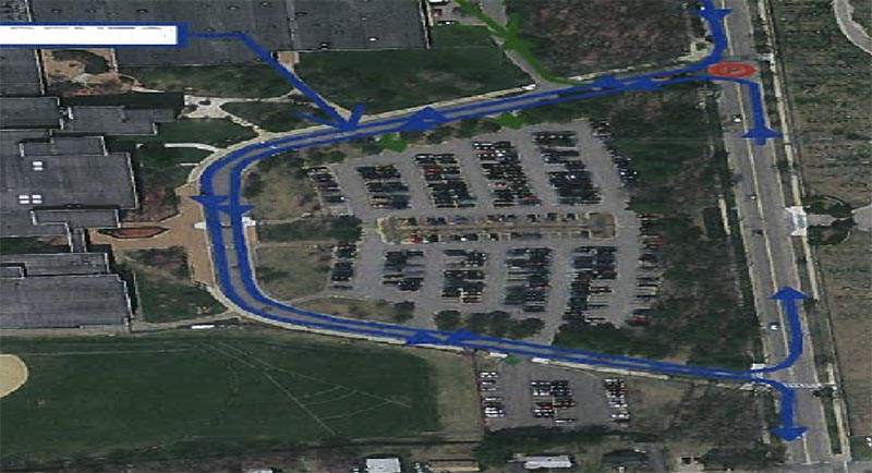 visual of how parents should make a loop for the parking lot drop offs