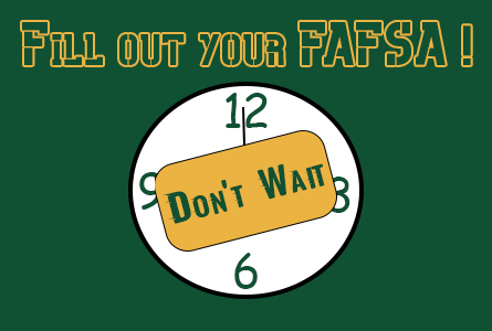 FAFSA Feature Image Clock with sign Don't wait on it